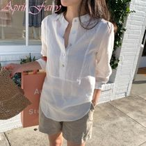 Casual Style Linen Cropped Plain Long Shirts & Blouses