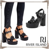 River Island Open Toe Platform Faux Fur Blended Fabrics Studded