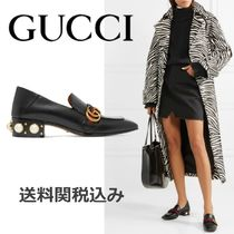 GUCCI Square Toe Blended Fabrics Studded Plain Leather