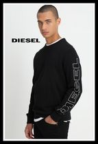 DIESEL Street Style U-Neck Cotton Logos on the Sleeves T-Shirts