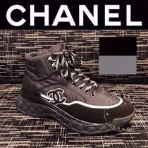 CHANEL SPORTS Unisex Blended Fabrics Street Style Plain Logo Sneakers