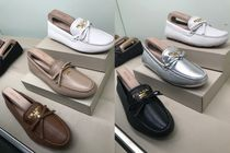 PRADA Moccasin Round Toe Rubber Sole Casual Style Plain Leather