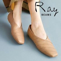 BEAMS Stripes Square Toe Rubber Sole Leather Elegant Style Flats