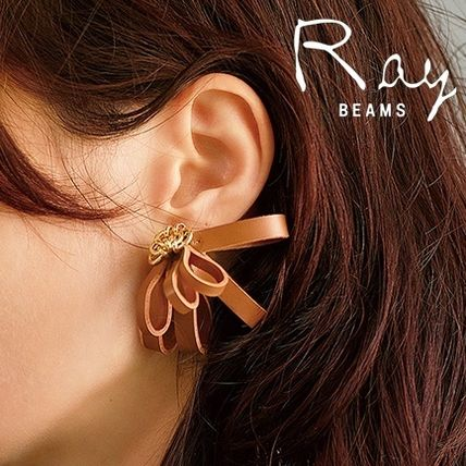 Flower Leather Elegant Style Earrings
