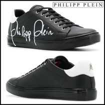 PHILIPP PLEIN Blended Fabrics Plain Leather Sneakers