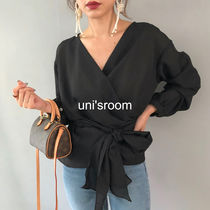 Puffed Sleeves Plain Medium Elegant Style Shirts & Blouses