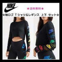 Nike Crew Neck Short Casual Style Tight Street Style Long Sleeves