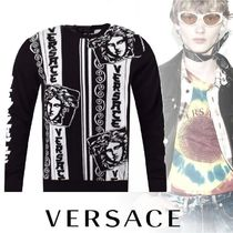 VERSACE Crew Neck Stripes Street Style Long Sleeves Cotton