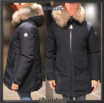 MONCLER Fur Blended Fabrics Street Style Plain Long Down Jackets