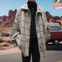 Other Check Patterns Street Style Bi-color Long Oversized