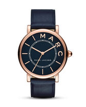 MARC JACOBS Unisex Leather Round Quartz Watches Analog Watches
