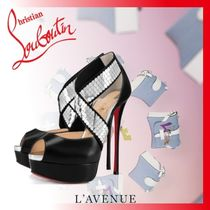 Christian Louboutin Open Toe Platform Blended Fabrics Leather Party Style