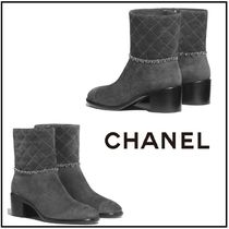 CHANEL Round Toe Leather Block Heels High Heel Boots