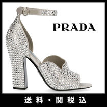 PRADA Open Toe Leather Block Heels Party Style With Jewels