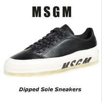 MSGM Unisex Street Style Plain Leather Sneakers