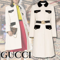 GUCCI Wool Plain Long Elegant Style Chester Coats