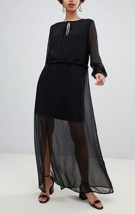 Casual Style Maxi Chiffon Long Sleeves Plain Long Dresses