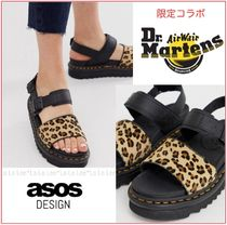 Dr Martens Leopard Patterns Open Toe Rubber Sole Casual Style Leather