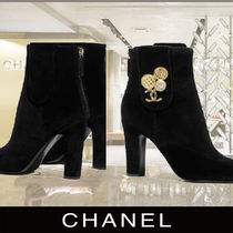 CHANEL Wedge Plain Toe Velvet With Jewels Elegant Style Wedge Boots