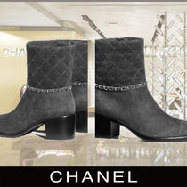 CHANEL Wedge Plain Toe Suede Chain Elegant Style Wedge Boots