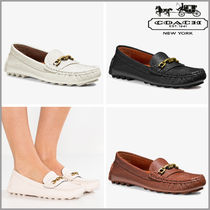 Coach CROSBY Round Toe Rubber Sole Casual Style Chain Plain Leather Flats