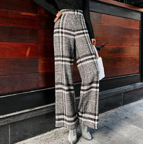 Glen Patterns Zigzag Wool Long Elegant Style Pants