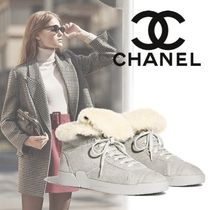 CHANEL Plain Toe Casual Style Blended Fabrics Plain Leather