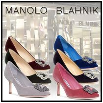 Manolo Blahnik Hangisi Velvet Blended Fabrics Plain Pin Heels Party Style