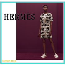 HERMES Short Cotton Short Sleeves Elegant Style Dresses