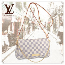 Louis Vuitton DAMIER AZUR 3WAY Chain Leather Elegant Style Shoulder Bags