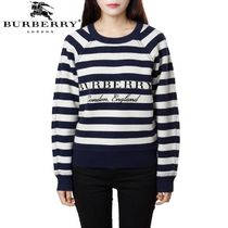 Burberry Crew Neck Stripes Casual Style Cashmere Long Sleeves Medium
