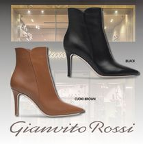 Gianvito Rossi Plain Leather Pin Heels Elegant Style High Heel Boots