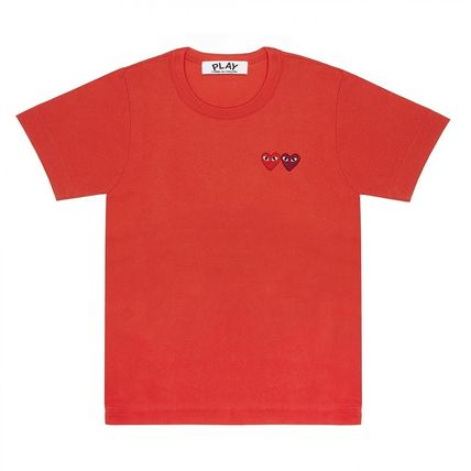 COMME des GARCONS Crew Neck Crew Neck Heart Unisex Street Style Cotton Short Sleeves 15