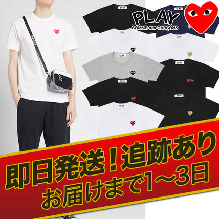 COMME des GARCONS Crew Neck Crew Neck Heart Unisex Street Style Cotton Short Sleeves