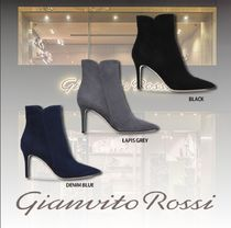 Gianvito Rossi Suede Plain Pin Heels Elegant Style High Heel Boots