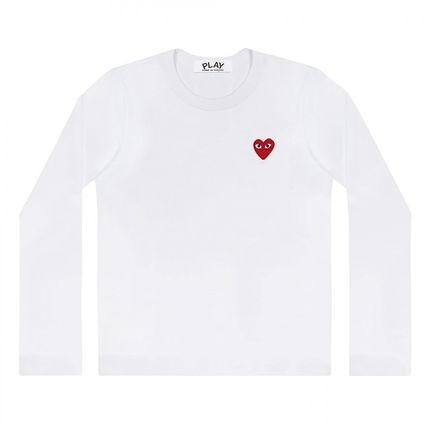 COMME des GARCONS Crew Neck Heart Unisex Street Style Long Sleeves Cotton