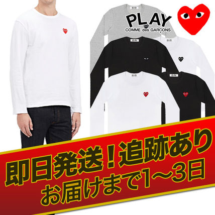 COMME des GARCONS Long Sleeve Crew Neck Heart Unisex Street Style Long Sleeves Cotton