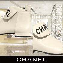 CHANEL Plain Toe Suede Elegant Style Ankle & Booties Boots