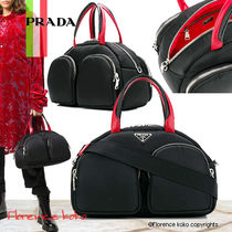 PRADA Nylon Blended Fabrics 2WAY Bi-color Plain Boston & Duffles