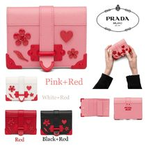 PRADA Heart Flower Patterns Saffiano Folding Wallets