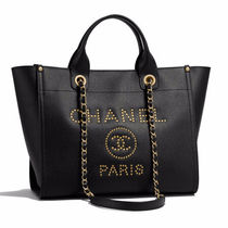 CHANEL DEAUVILLE Unisex Calfskin Studded 2WAY Chain Totes