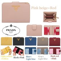 PRADA Saffiano Bi-color Plain Folding Wallets