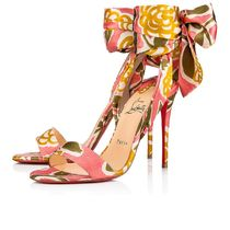 Christian Louboutin Flower Patterns Open Toe Pin Heels Elegant Style