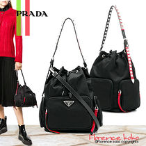PRADA Casual Style Nylon Blended Fabrics Studded 2WAY Bi-color