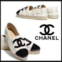CHANEL Other Plaid Patterns Plain Toe Casual Style Tweed