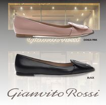 Gianvito Rossi Plain Leather Elegant Style Pointed Toe Pumps & Mules