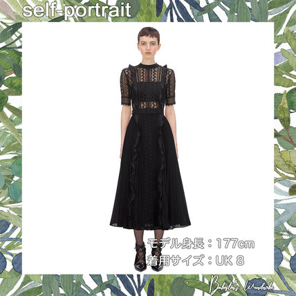 A-line Medium Short Sleeves Party Style Midi Lace Dresses