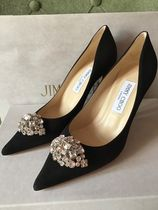 Jimmy Choo Plain Toe Suede Blended Fabrics Plain Pin Heels With Jewels