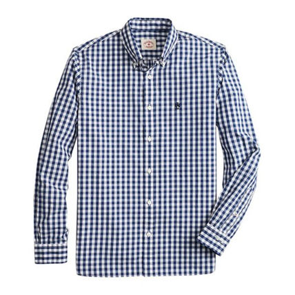 Button-down Gingham Long Sleeves Cotton Shirts