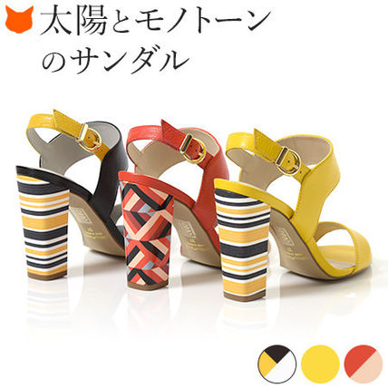 Stripes Open Toe Leather Elegant Style Chunky Heels